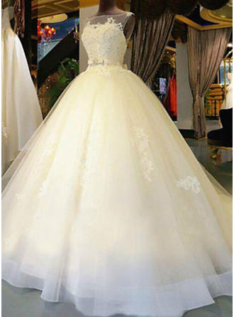 Modern Cathedral Train Sash Beading Appliques With Tulle Wedding Dresses