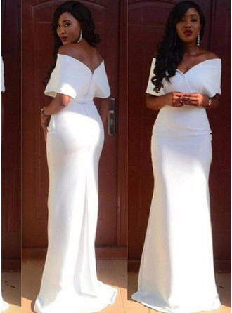 Magnificent Stretch Crepe Evening Dresses Sheath/Column Sweep Train Off-the-Shoulder Short Sleeves