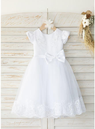 Satin Tulle Scoop Neck Beading Baby Girl's Christening Gowns With Short Sleeves