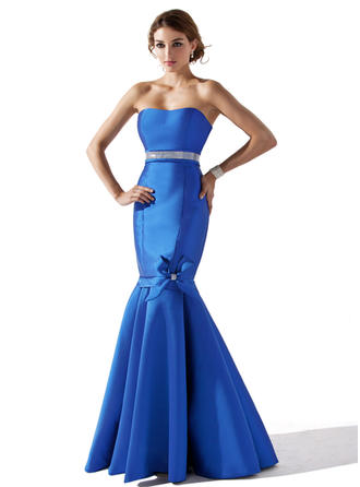 Trumpet/Mermaid Sweetheart Floor-Length Evening Dresses With Beading Flower(s) Bow(s)