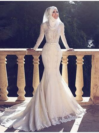 Scoop Trumpet/Mermaid Wedding Dresses Tulle Lace Long Sleeves Sweep Train