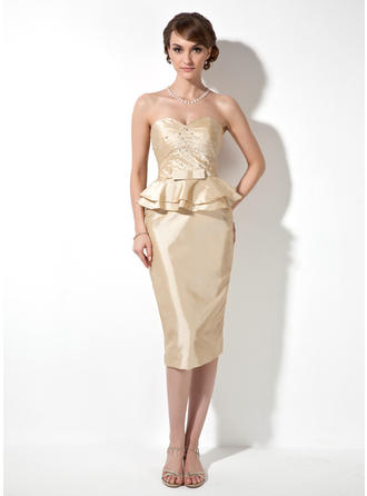 Sheath/Column Sweetheart Knee-Length Taffeta Mother of the Bride Dress With Ruffle Beading
