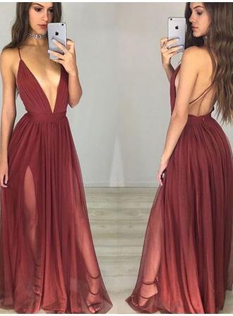A-Line/Princess V-neck Floor-Length Evening Dress With Ruffle