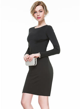 Sheath/Column Jersey Cocktail Dresses Lace Scoop Neck Long Sleeves Short/Mini