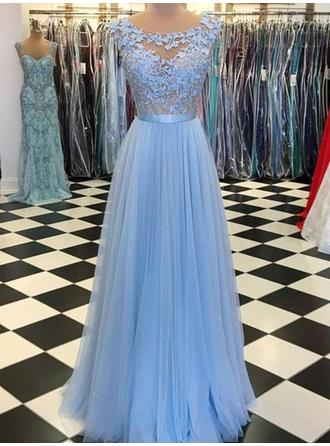 Floor-Length Regular Straps Tulle A-Line/Princess Prom Dresses