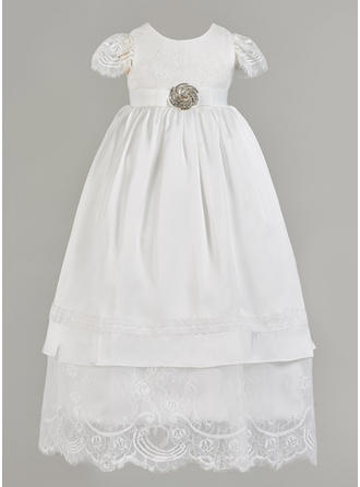 Satin Tulle Scoop Neck Rhinestone Baby Girl's Christening Gowns With Short Sleeves