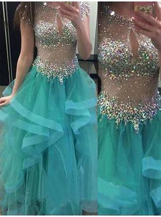 Scoop Neck Organza Ball-Gown Beautiful Prom Dresses