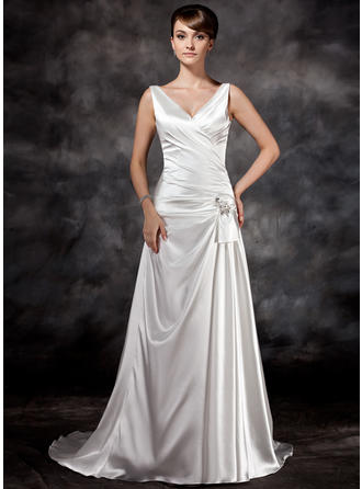 A-Line/Princess Court Train Wedding Dress With Ruffle Beading Sequins