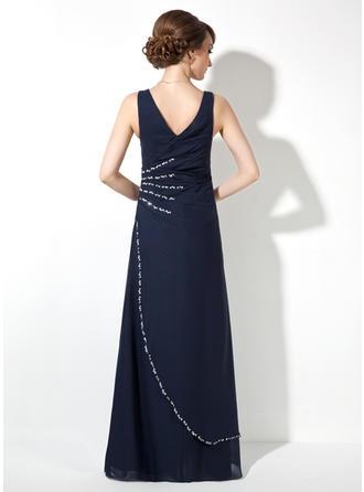 Vネック シフォン マキシレングス イブニングドレス 袖なし (017020681)