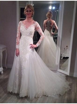 A-Line/Princess Tulle Lace Long Sleeves Scoop Court Train Wedding Dresses