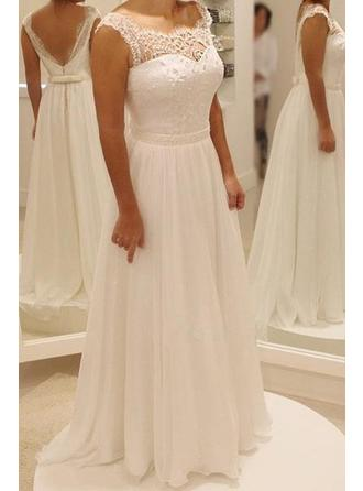 A-Line/Princess Scoop Sweep Train Wedding Dress With Bow(s)