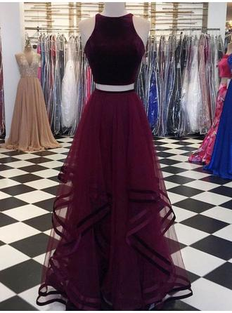 Tulle Sleeveless A-Line/Princess Prom Dresses Scoop Neck Ruffle Floor-Length