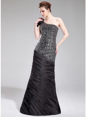 Trumpet/Mermaid One-Shoulder Charmeuse Sequined Sleeveless Floor-Length Ruffle Flower(s) Evening Dresses (017019444)