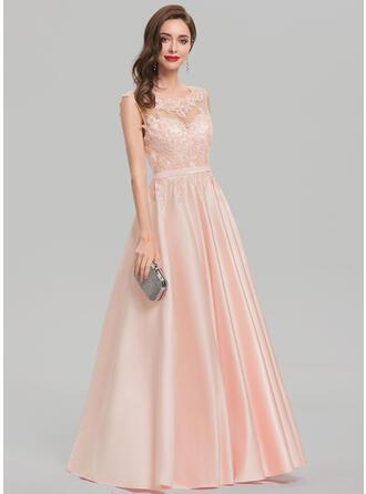 Ball-Gown Scoop Neck Floor-Length Satin Evening Dress With Sequins