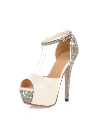 Women's Peep Toe Platform Stiletto Heel Leatherette With Sequin Wedding Shoes