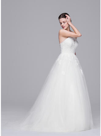 a line wedding dresses with straps