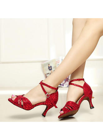 Women's Latin Heels Pumps Suede With Ankle Strap Dance Shoes
