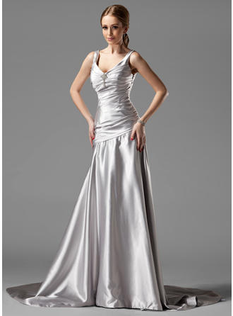 A-Line/Princess V-neck Court Train Evening Dress With Ruffle Crystal Brooch