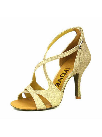 Women's Latin Heels Sandals Pumps Sparkling Glitter Dance Shoes (053180655)