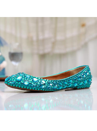 Frauen Geschlossene Zehe Flache Schuhe Flascher Absatz Kunstleder mit Strass Brautschuhe