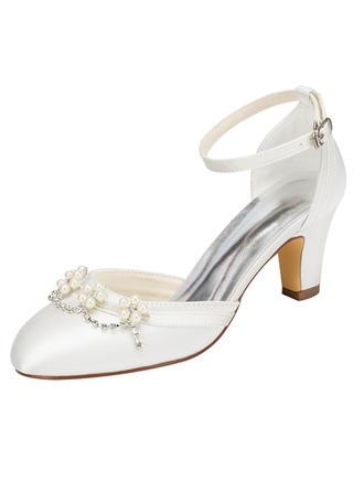 Frauen Satin Stämmiger Absatz Sandalen mit Perle