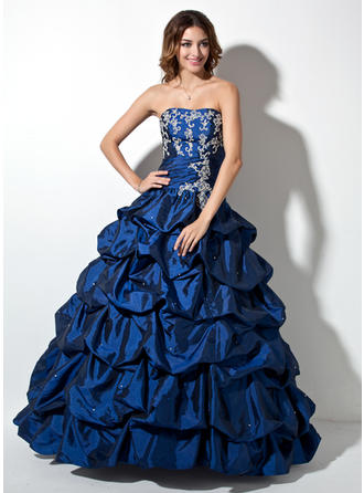 Ball-Gown Sweetheart Floor-Length Taffeta Prom Dress With Ruffle Beading Appliques Lace Sequins