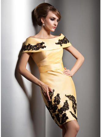 Sheath/Column Off-the-Shoulder Taffeta Sleeveless Knee-Length Beading Appliques Lace Sequins Evening Dresses