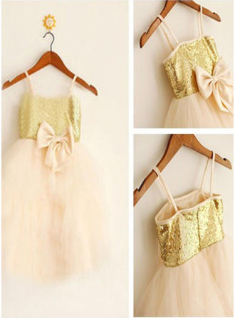 Straps A-Line/Princess Flower Girl Dresses Tulle/Sequined Bow(s) Sleeveless Knee-length