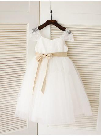 Square Neckline A-Line/Princess Flower Girl Dresses Tulle Sash Sleeveless Knee-length