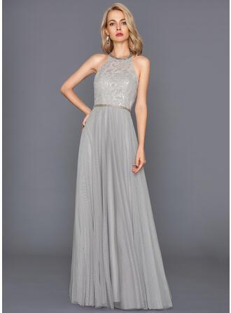 A-Line/Princess Halter Floor-Length Tulle Evening Dress