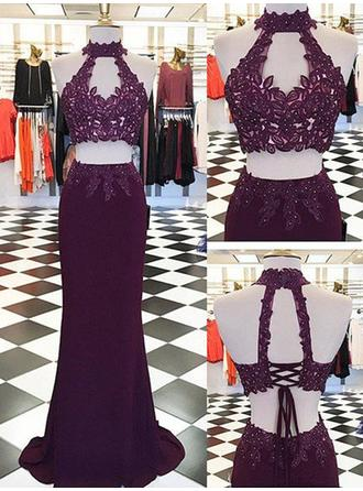 Chiffon Sleeveless Sheath/Column Prom Dresses Halter Appliques Lace Floor-Length