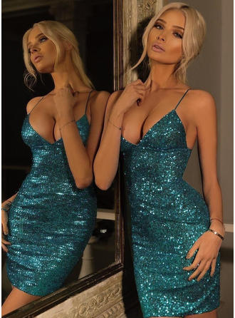 Sequins Sheath/Column Short/Mini Sequined Homecoming Dresses
