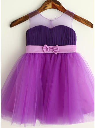 Delicate Strapless A-Line/Princess Flower Girl Dresses Knee-length Chiffon/Tulle Sleeveless