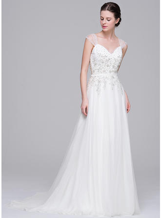 Simple Sweep Train A-Line/Princess Wedding Dresses Sweetheart Tulle Sleeveless