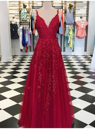 A-Line/Princess V-neck Floor-Length Evening Dresses With Appliques Lace