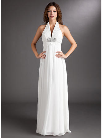 Sweetheart Court Train A-Line/Princess Wedding Dresses Halter Chiffon Sleeveless