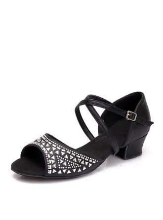 Women's Latin Sandals Leatherette With Rhinestone Dance Shoes
