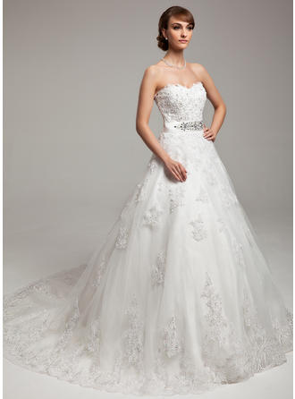 Organza Ball-Gown Chapel Train Sweetheart Wedding Dresses