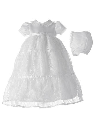 Tulle Scoop Neck Baby Girl's Christening Gowns With Short Sleeves