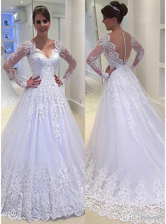 Luxurious Ball-Gown Wedding Dresses V-neck Tulle Lace Long Sleeves