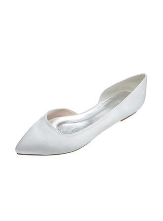 Femmes Bout fermé Chaussures plates Talon plat Satiné Chaussures de mariage