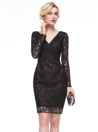 Sheath/Column Lace Cocktail Dresses V-neck Long Sleeves Knee-Length