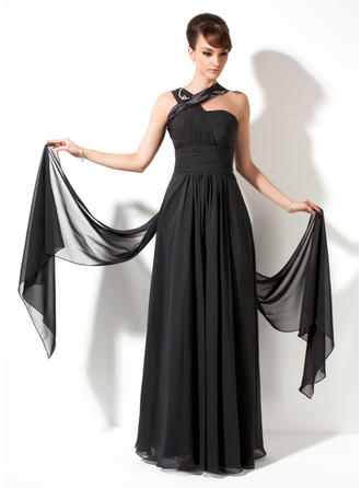 A-Line/Princess V-neck Watteau Train Chiffon Prom Dress With Ruffle