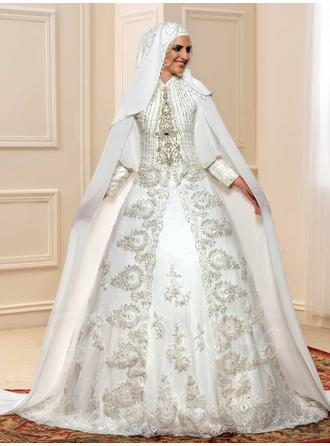 ثوب حفلة الطول الأرضي ذيل كورت فستان الزفاف مع ربط الحذاء مطرز بالخرز زين