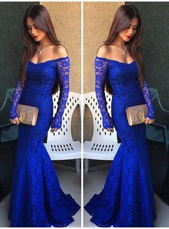 Trumpet/Mermaid Lace Prom Dresses Off-the-Shoulder Long Sleeves Floor-Length