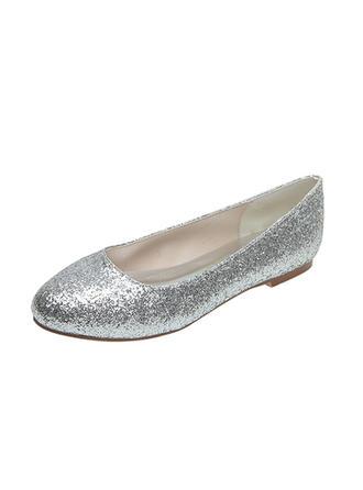 Women's Closed Toe Flats Flat Heel Sparkling Glitter Wedding Shoes