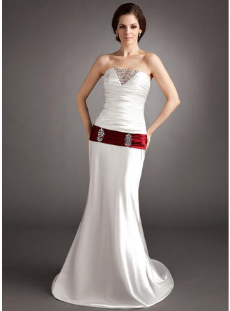 A-Line/Princess Sweetheart Sweep Train Charmeuse Wedding Dress With Ruffle Sash Beading Sequins