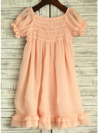 Simple Square Neckline Empire Flower Girl Dresses Knee-length Chiffon Short Sleeves
