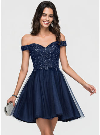 A-Line Off-the-Shoulder Short/Mini Tulle Prom Dresses With Lace Beading