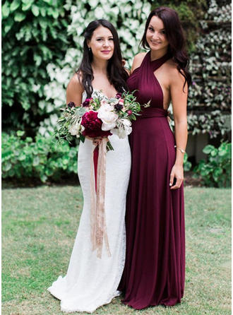 A-Line/Princess Halter Floor-Length Jersey Bridesmaid Dress With Ruffle